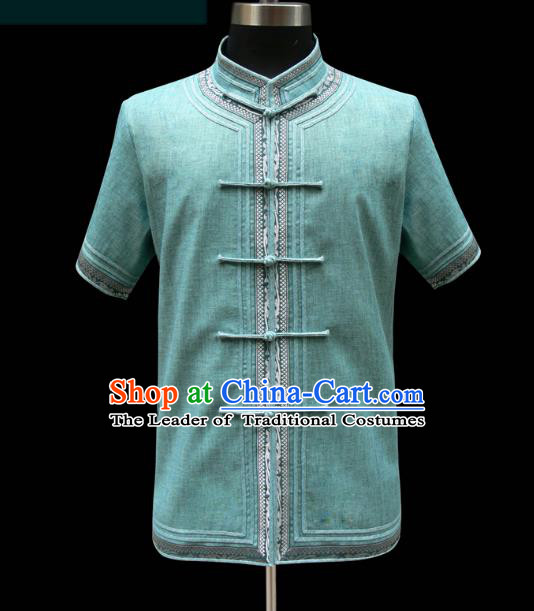 Traditional Chinese Mongol Nationality Costume Green Shirt, Chinese Mongolian Minority Nationality Upper Outer Garment for Men