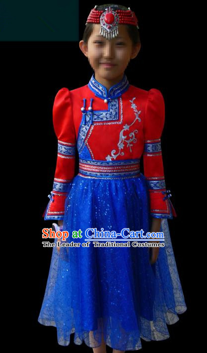 Traditional Chinese Mongol Nationality Costume Children Red Mongolian Robe, Chinese Mongolian Minority Nationality Dance Veil Dress Clothing for Kids