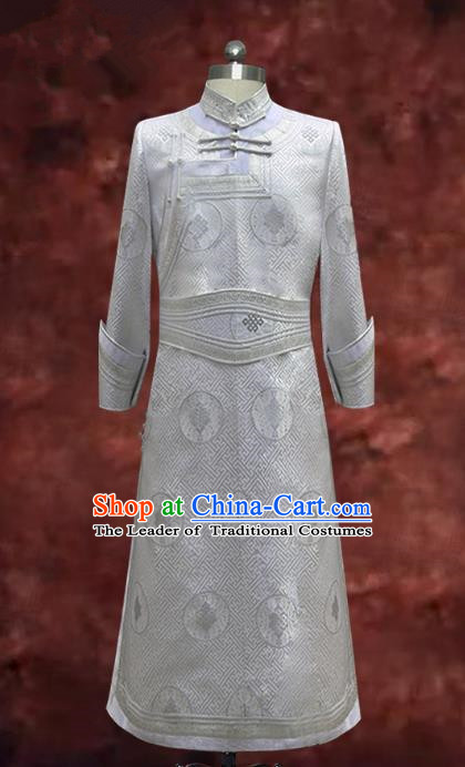 Traditional Chinese Mongol Nationality Costume White Mongolian Robe, Chinese Mongolian Minority Nationality Dance Clothing for Men
