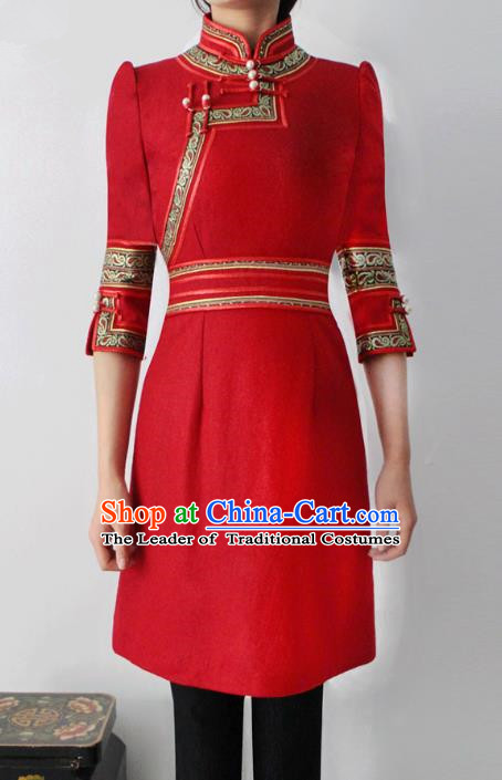 Traditional Chinese Mongol Nationality Costume Red Short Dress Mongolian Robe, Chinese Mongolian Minority Nationality Dance Clothing for Women