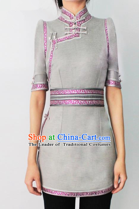 Traditional Chinese Mongol Nationality Costume Grey Short Dress Mongolian Robe, Chinese Mongolian Minority Nationality Dance Clothing for Women