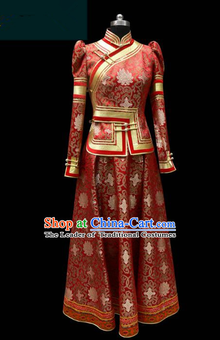 Traditional Chinese Mongol Nationality Costume Red Dress Wedding Bride Mongolian Robe, Chinese Mongolian Minority Dance Clothing for Women