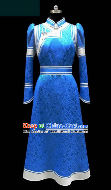 Traditional Chinese Mongol Nationality Costume Blue Dress Wedding Bride Mongolian Robe, Chinese Mongolian Minority Dance Clothing for Women