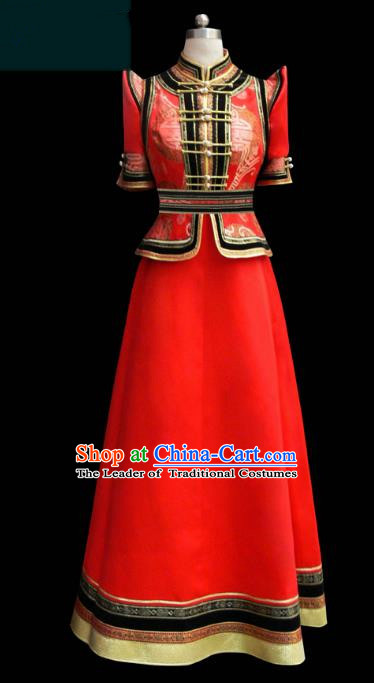 Traditional Chinese Mongol Nationality Costume Red Dress Bride Mongolian Robe, Chinese Mongolian Minority Dance Wedding Clothing for Women