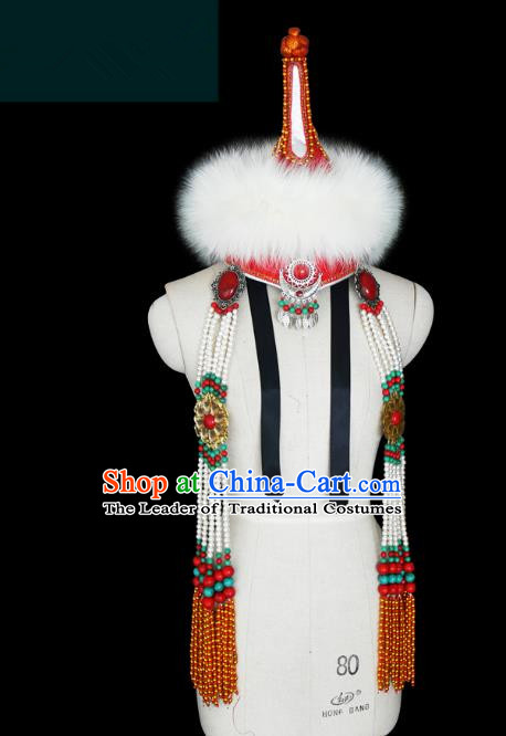 Traditional Chinese Mongol Nationality Princess Hat, Chinese Mongolian Minority Nationality Headwear for Women