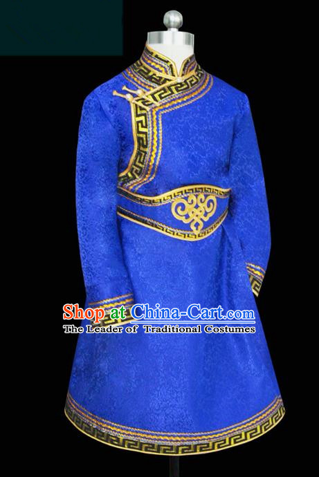 Traditional Chinese Mongol Nationality Costume Blue Mongolian Robe, Chinese Mongolian Minority Nationality Clothing for Men