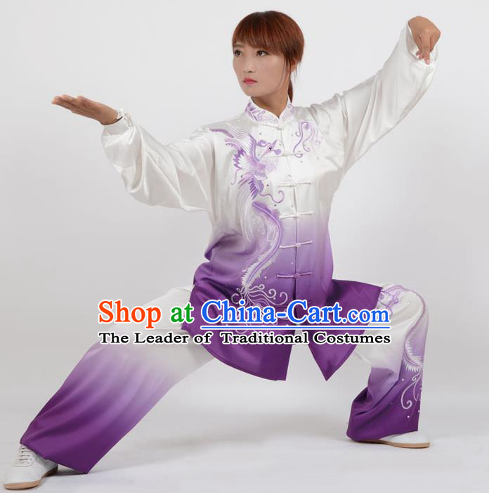 Top Kung Fu Costume Martial Arts Costume Kung Fu Training Purple Uniform, Gongfu Shaolin Wushu Embroidery Phoenix Tai Ji Clothing for Women