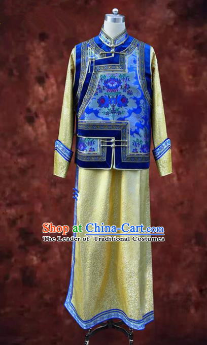 Traditional Chinese Mongol Nationality Dance Costume Blue Mongolian Robe, Chinese Mongolian Minority Nationality Bridegroom Embroidery Costume for Men