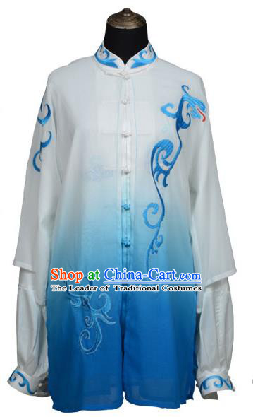 Top Kung Fu Costume Martial Arts Costume Kung Fu Training Blue Uniform, Gongfu Shaolin Wushu Embroidery Tai Ji Clothing for Women