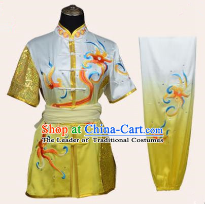 Top Kung Fu Costume Martial Arts Costume Kung Fu Training Plated Buttons Yellow Uniform, Gongfu Shaolin Wushu Embroidery Dragon Tai Ji Clothing for Women for Men