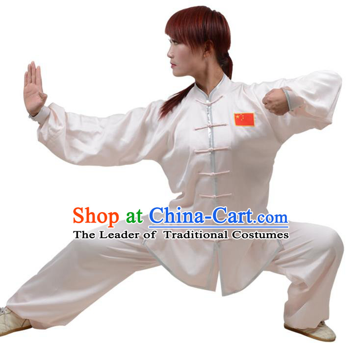 Top Kung Fu Costume Martial Arts Costume Kung Fu Training Plated Buttons White Uniform, Gongfu Shaolin Wushu Tai Ji Clothing for Women for Men