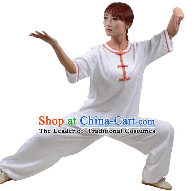Top Kung Fu Linen Costume Martial Arts Costume Kung Fu Training Orange Plated Buttons White Uniform, Gongfu Shaolin Wushu Tai Ji Clothing for Women for Men