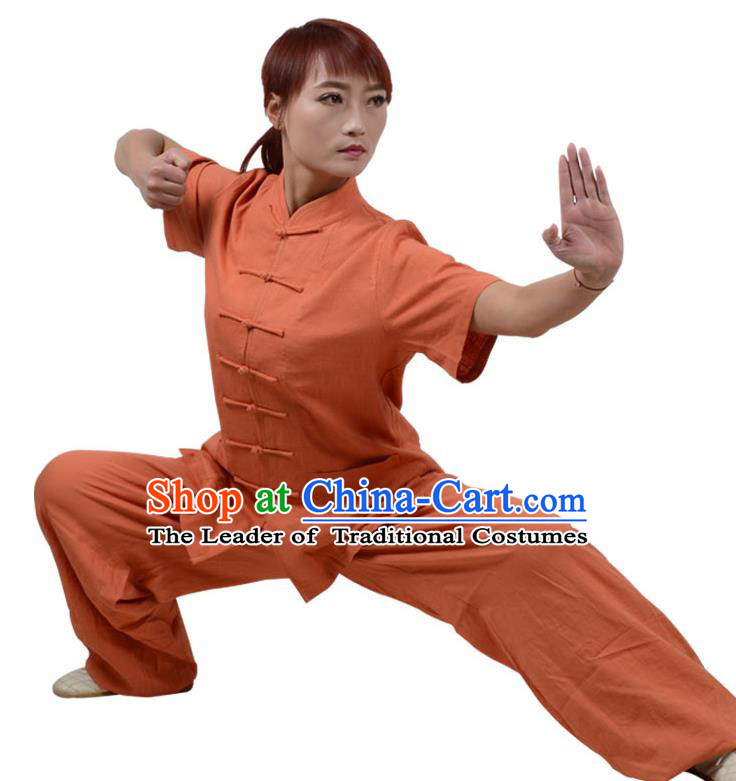 Top Kung Fu Linen Costume Martial Arts Costume Kung Fu Training Short Sleeve Orange Uniform, Gongfu Shaolin Wushu Tai Ji Plated Buttons Clothing for Women for Men