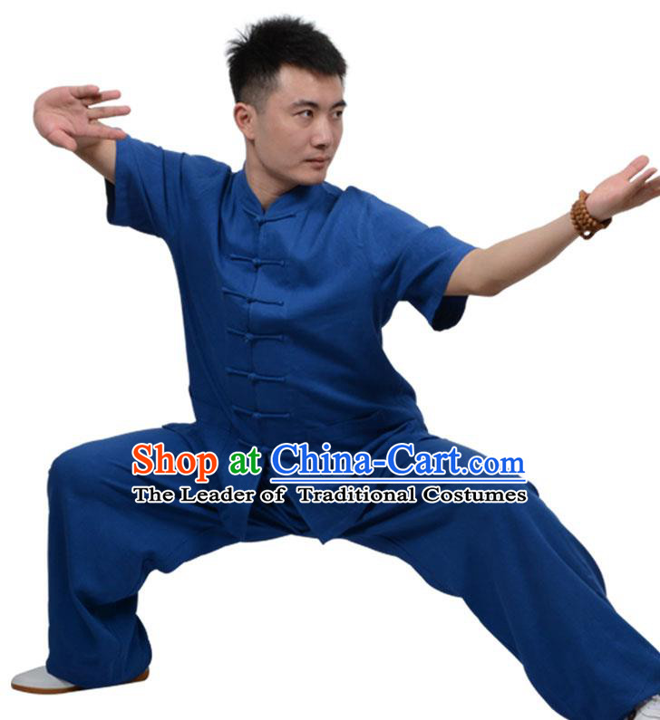 Top Kung Fu Linen Costume Martial Arts Costume Kung Fu Training Short Sleeve Deep Blue Uniform, Gongfu Shaolin Wushu Tai Ji Plated Buttons Clothing for Women for Men