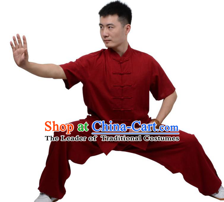 Top Kung Fu Linen Costume Martial Arts Costume Kung Fu Training Short Sleeve Red Uniform, Gongfu Shaolin Wushu Tai Ji Plated Buttons Clothing for Women for Men