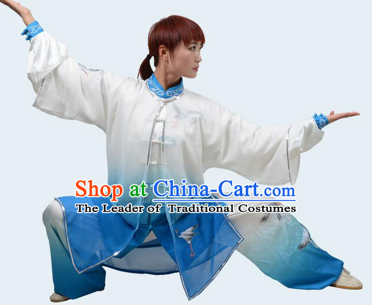 Top Kung Fu Costume Martial Arts Costume Kung Fu Training Gradient Blue Uniform, Gongfu Shaolin Wushu Embroidery Crane Tai Ji Clothing for Women for Men