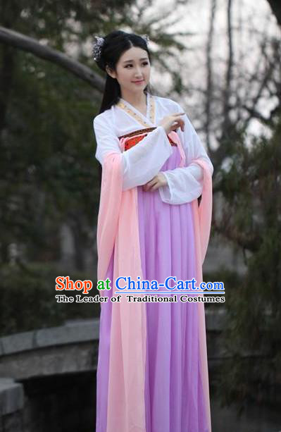 Traditional Ancient Chinese Palace Princess Embroidered Costume Blouse and Slip Skirt, Elegant Hanfu Chinese Tang Dynasty Young Lady Dress Clothing