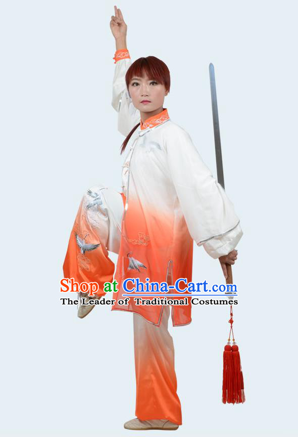 Top Kung Fu Costume Martial Arts Costume Kung Fu Training Gradient Orange Uniform, Gongfu Shaolin Wushu Embroidery Crane Tai Ji Clothing for Women for Men