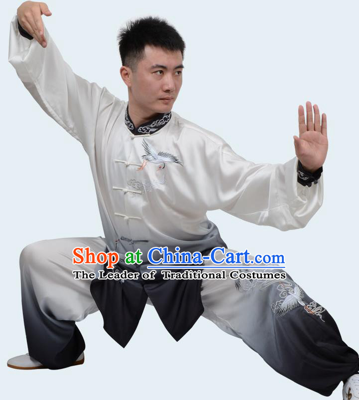 Top Kung Fu Costume Martial Arts Costume Kung Fu Training Gradient Black Uniform, Gongfu Shaolin Wushu Embroidery Crane Tai Ji Clothing for Women for Men