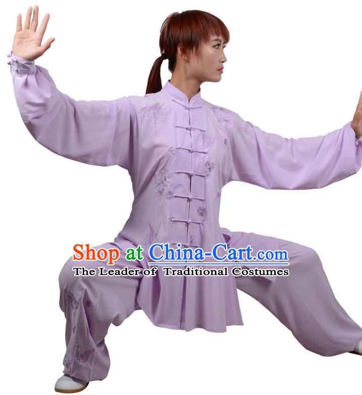 Top Kung Fu Costume Martial Arts Costume Kung Fu Training Purple Uniform, Gongfu Shaolin Wushu Embroidery Crane Tai Ji Three-Piece Clothing for Women for Men