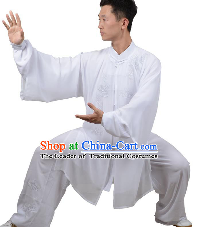 Top Kung Fu Costume Martial Arts Costume Kung Fu Training White Uniform, Gongfu Shaolin Wushu Embroidery Crane Tai Ji Three-Piece Clothing for Women for Men