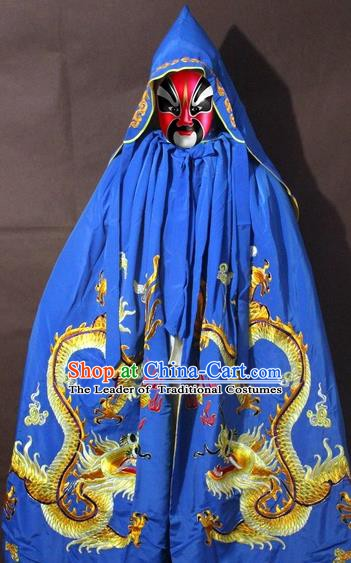Traditional China Beijing Opera Costume Embroidery Dragon Cloak, Chinese Peking Opera General Blue Embroidered Cape