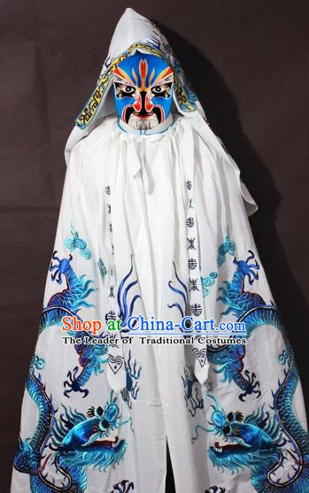 Traditional China Beijing Opera Costume Embroidery Dragon Cloak, Chinese Peking Opera General White Embroidered Cape