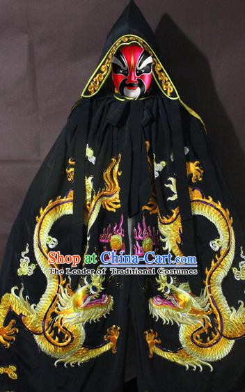 Traditional China Beijing Opera Costume Embroidery Dragon Cloak, Chinese Peking Opera General Black Embroidered Cape
