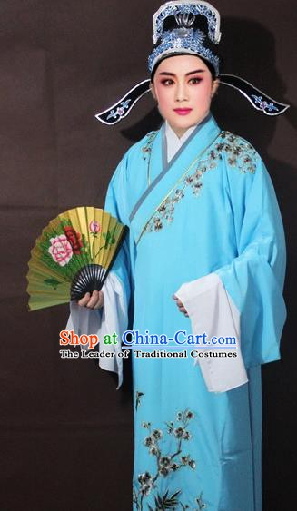 Traditional China Beijing Opera Niche Costume Blue Embroidered Robe, Chinese Peking Opera Scholar Embroidery Clothing