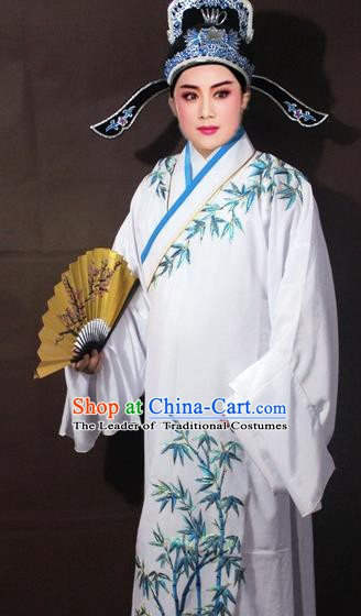 Traditional China Beijing Opera Niche Costume White Embroidered Robe, Chinese Peking Opera Scholar Embroidery Bamboo Clothing
