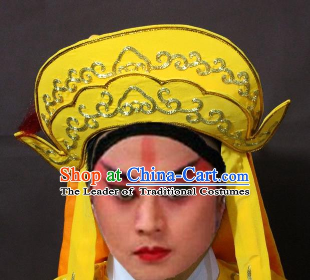 Traditional Chinese Handmade Hair Accessories Beijing Opera Takefu Embroidered Yellow Hats Headwear for Men