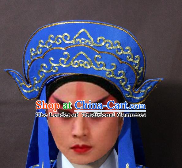 Traditional Chinese Handmade Hair Accessories Beijing Opera Takefu Embroidered Blue Hats Headwear for Men