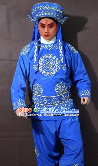 Traditional China Beijing Opera Takefu Embroidered Blue Costume, Chinese Peking Opera Soldier Clothing