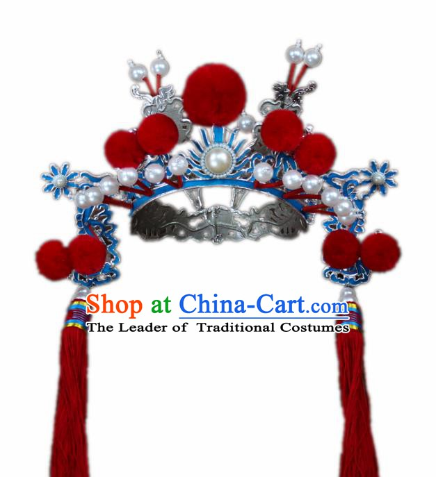 Traditional China Beijing Opera General Hats, Chinese Peking Opera Warrior Helmet Headwear