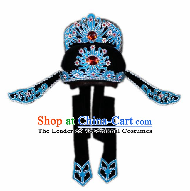 Traditional China Beijing Opera Share-win Scholar Black Hats, Chinese Peking Opera Niche Headwear