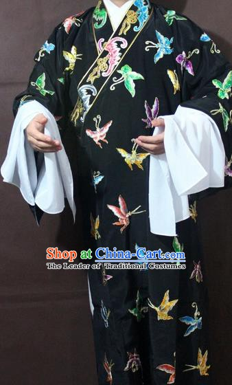 Traditional China Beijing Opera Niche Embroidery Butterfly Costume, Chinese Peking Opera Black Embroidered Robe Clothing