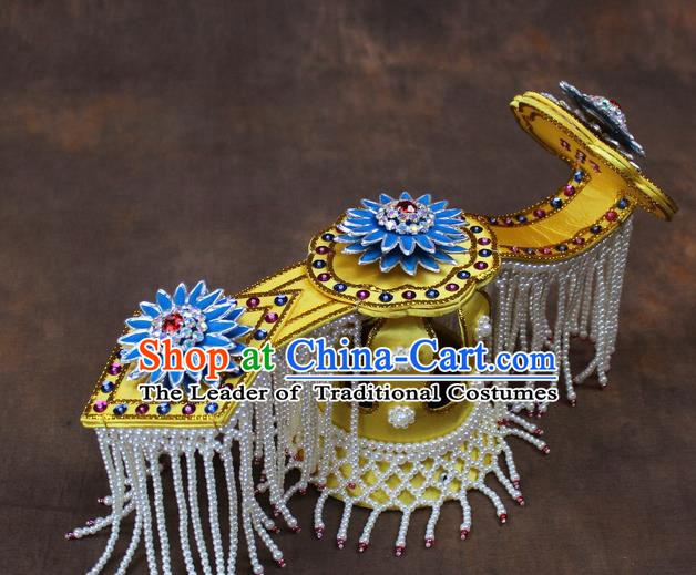 Traditional China Beijing Opera Actress Hair Accessories Blue Lotus Coronet, Chinese Peking Opera Imperial Concubine Headwear