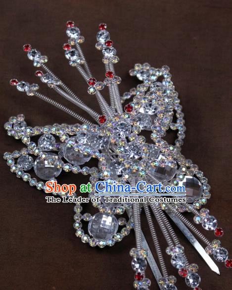 Traditional China Beijing Opera Actress Hair Accessories Crystal Butterfly Hairpins, Chinese Peking Opera Diva Headwear
