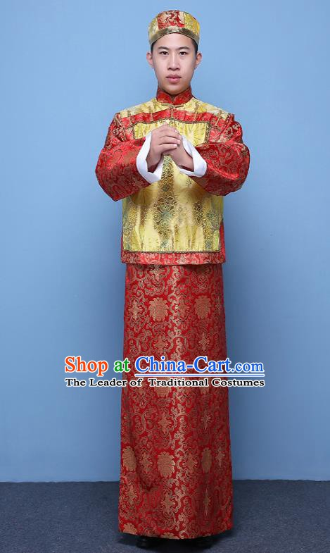 Traditional Ancient Chinese Qing Dynasty Prince Costume, China Manchu Nobility Childe Yellow Mandarin Jacket Clothing for Men