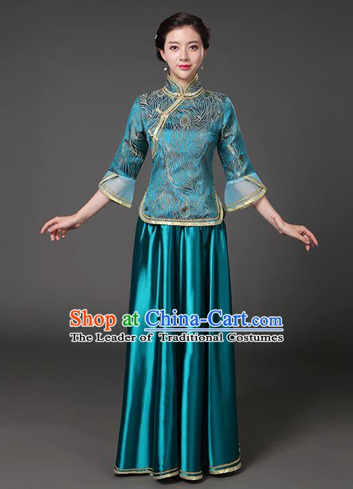 Traditional Chinese Republic of China Nobility Lady Clothing, China National Peacock Blue Cheongsam Blouse and Skirt for Women