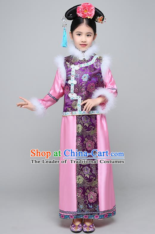 Traditional Ancient Chinese Qing Dynasty Manchu Lady Purple Costume, Chinese Mandarin Princess Embroidered Clothing for Kids