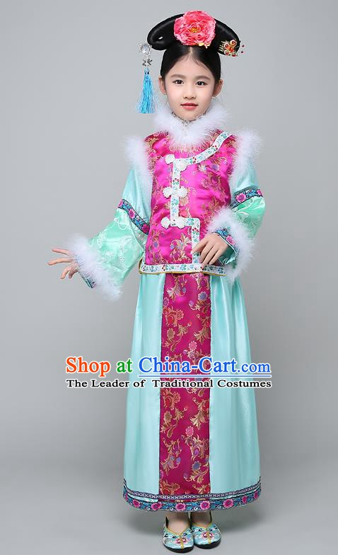 Traditional Ancient Chinese Qing Dynasty Manchu Lady Rosy Costume, Chinese Mandarin Princess Embroidered Clothing for Kids