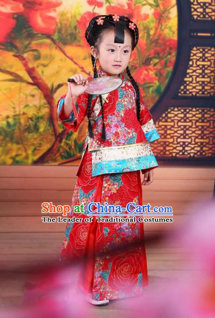Ancient Chinese Qing Dynasty Children Costume, China Traditional Xiuhe Suit Red Dress Embroidered Clothing for Kids