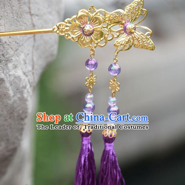 Traditional Chinese Handmade Hair Accessories Hairpins Hanfu Purple Tassel Step Shake for Kids