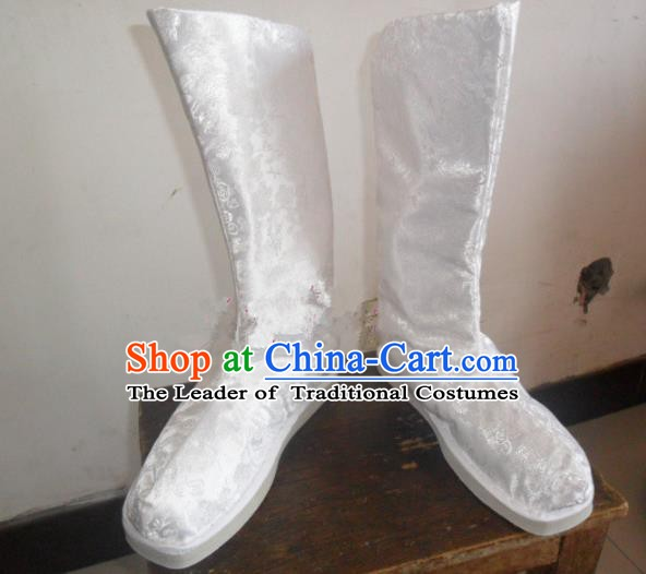 Asian Chinese Traditional Shoes Embroidered White Shoes, China Ancient Hanfu Shoes Embroidered Satin Shoes