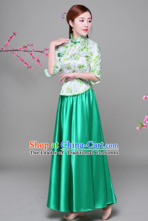 Traditional Chinese Republic of China Children Xiuhe Suit Clothing, China National Embroidered Green Blouse and Skirt for Women