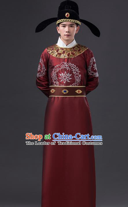 Traditional Chinese Tang Dynasty Prince Costume, China Ancient Minister Purplish Red Embroidered Robe Clothing for Men