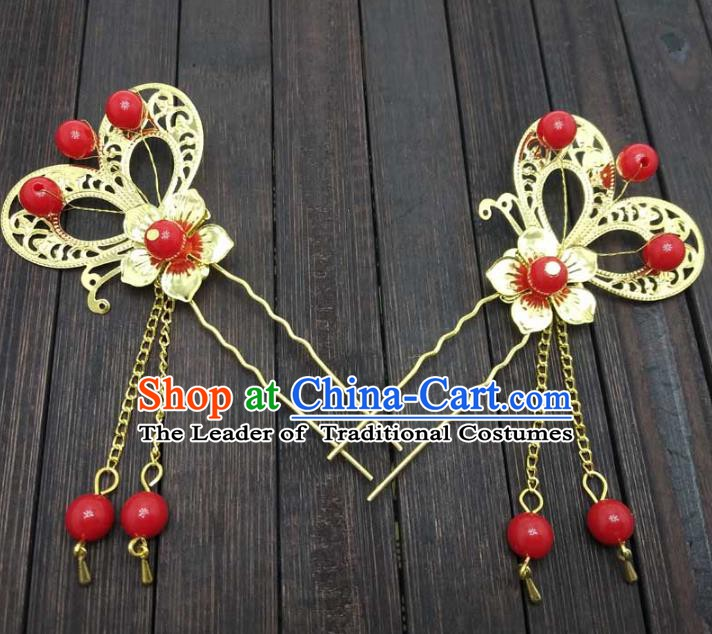Traditional Chinese Handmade Hair Accessories Princess Hairpins Hanfu Butterfly Tassel Step Shake for Kids