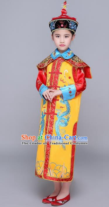 Traditional Ancient Chinese Qing Dynasty Empress Costume, China Manchu Palace Lady Embroidered Clothing for Kids