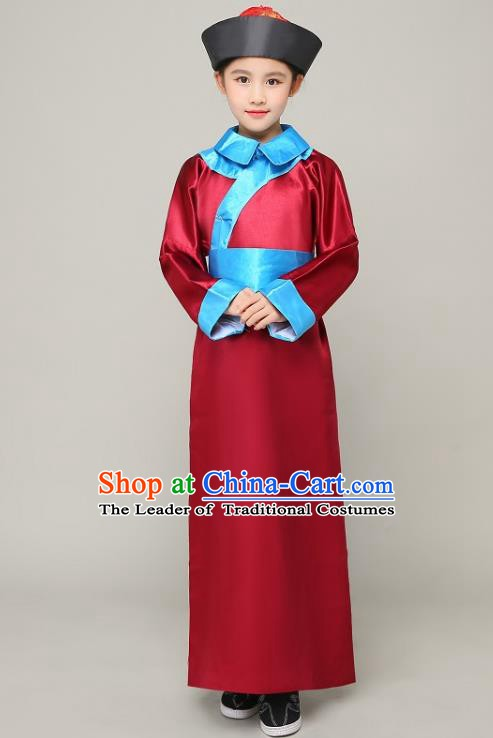 Traditional Chinese Qing Dynasty Court Eunuch Costume, China Manchu Imperial Bodyguard Red Mandarin Robe for Kids